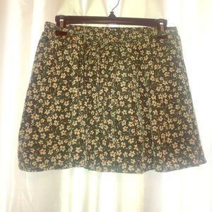 Floral Print Green Skirt.